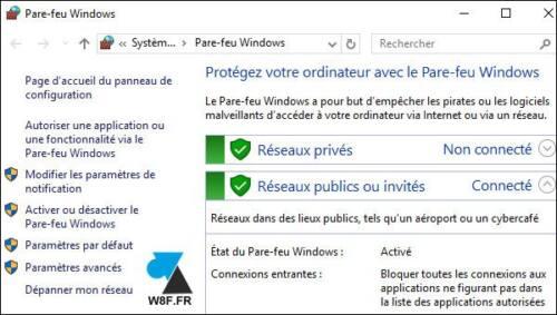 pare feu Windows 10